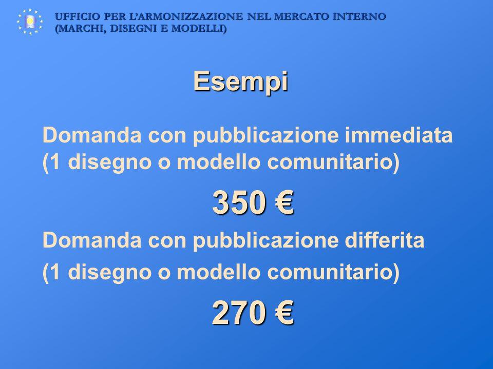 Esempi Domanda con pubblicazione immediata (1 disegno o modello comunitario) 350 € Domanda con pubblicazione differita.