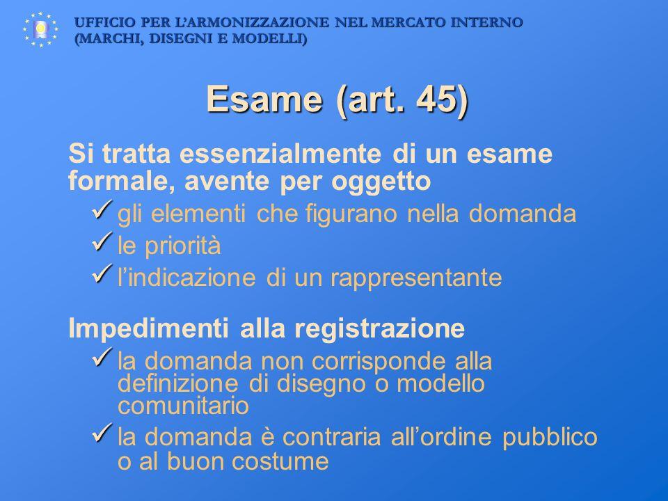 Esame (art. 45)  l'indicazione di un rappresentante