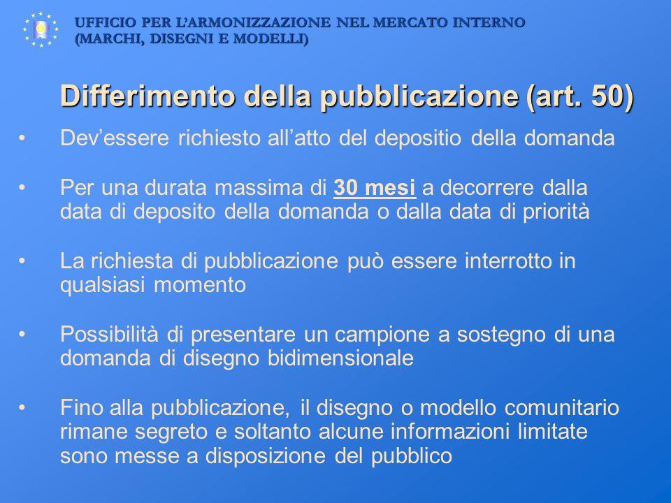 Differimento della pubblicazione (art. 50)