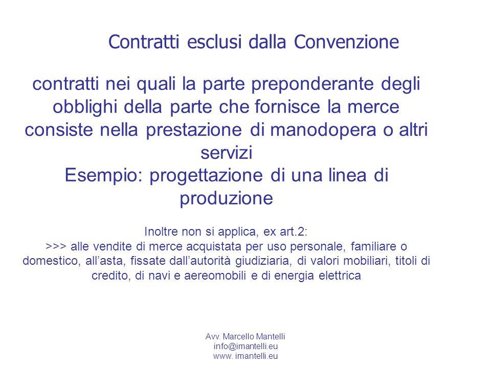 Contratti esclusi dalla Convenzione