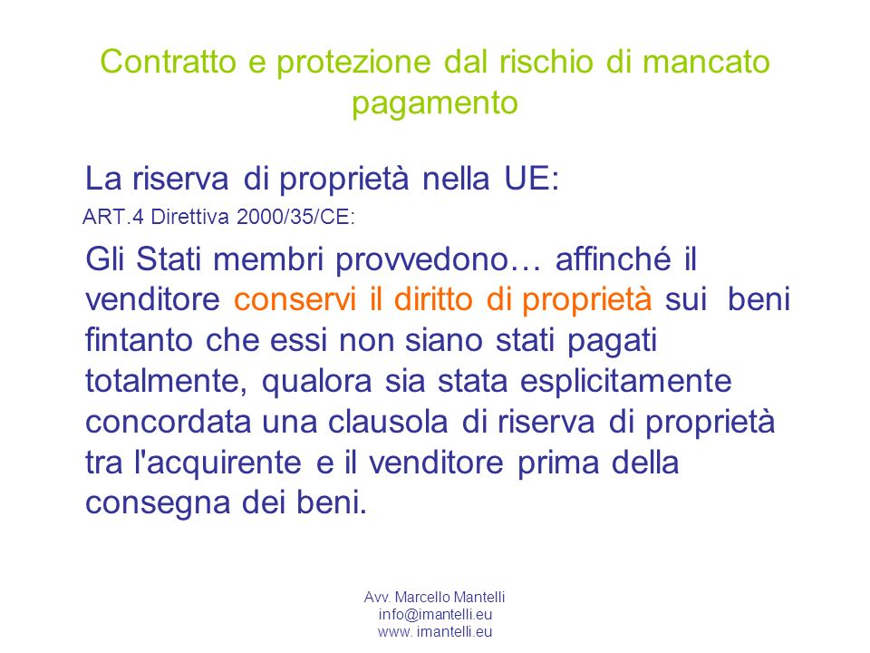 Contratto e protezione dal rischio di mancato pagamento