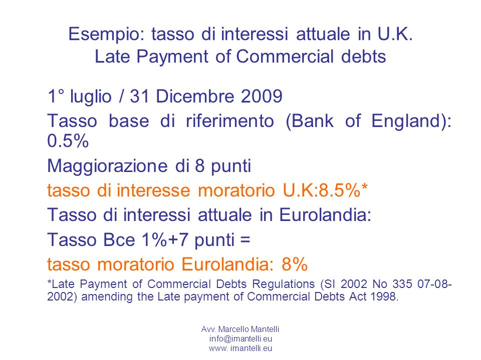Tasso base di riferimento (Bank of England): 0.5%