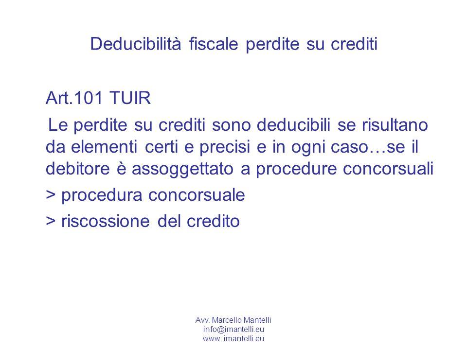 Deducibilità fiscale perdite su crediti