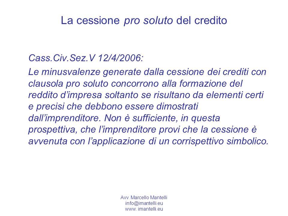 La cessione pro soluto del credito