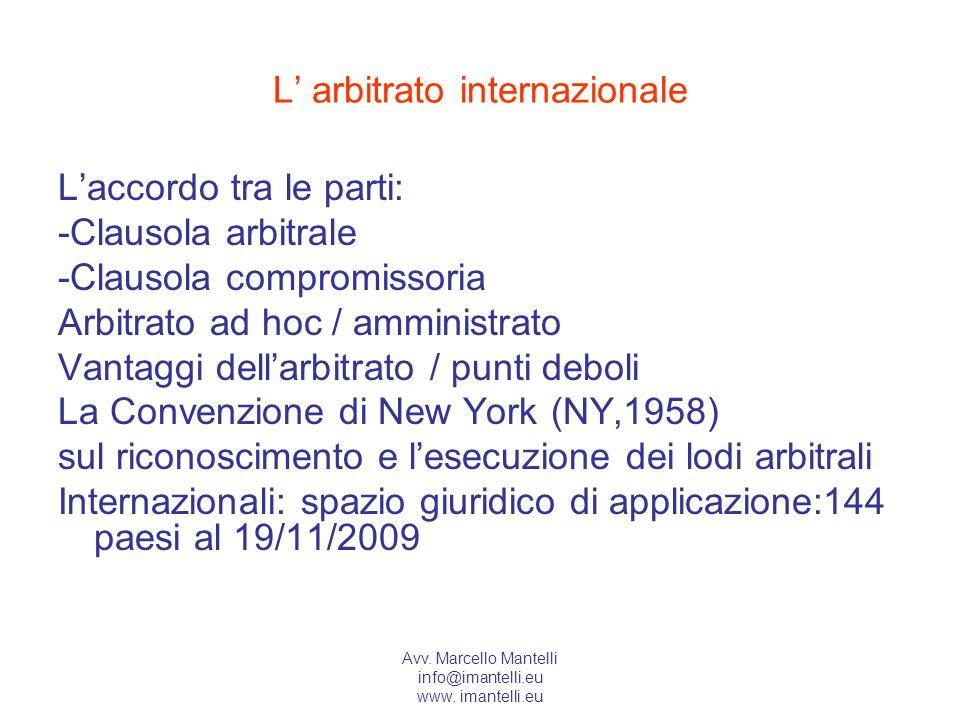 L' arbitrato internazionale