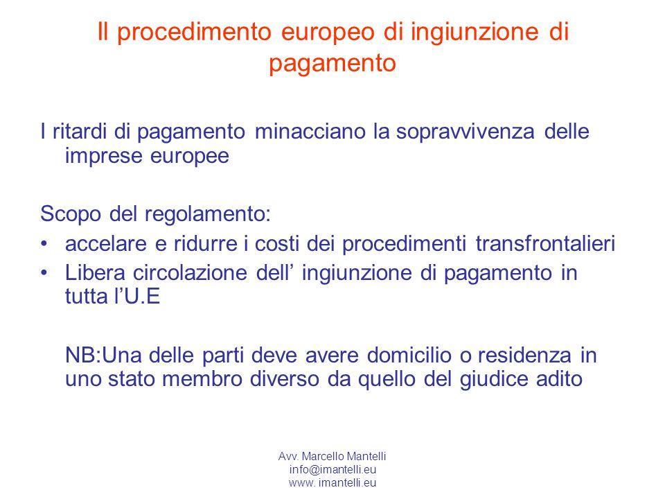 Il procedimento europeo di ingiunzione di pagamento
