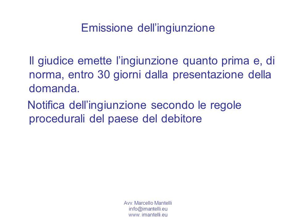 Emissione dell'ingiunzione