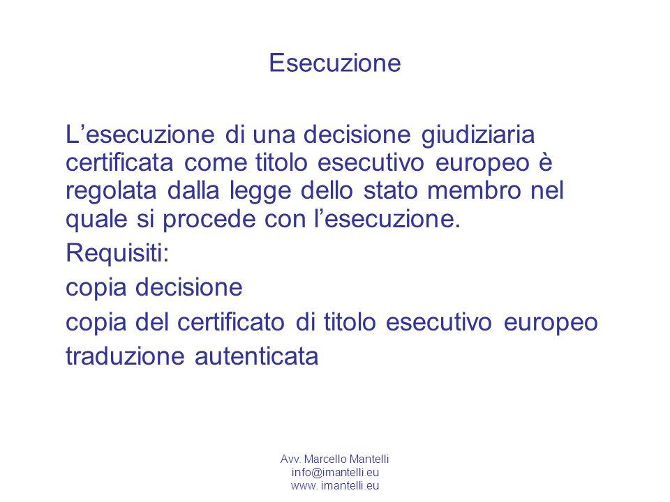 copia del certificato di titolo esecutivo europeo