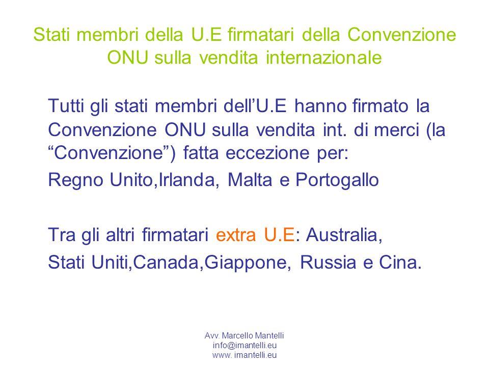 Stati membri della U.E firmatari della Convenzione ONU sulla vendita internazionale