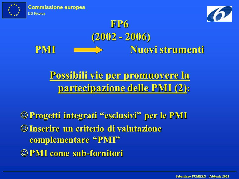 FP6 (2002 - 2006) PMI Nuovi strumenti