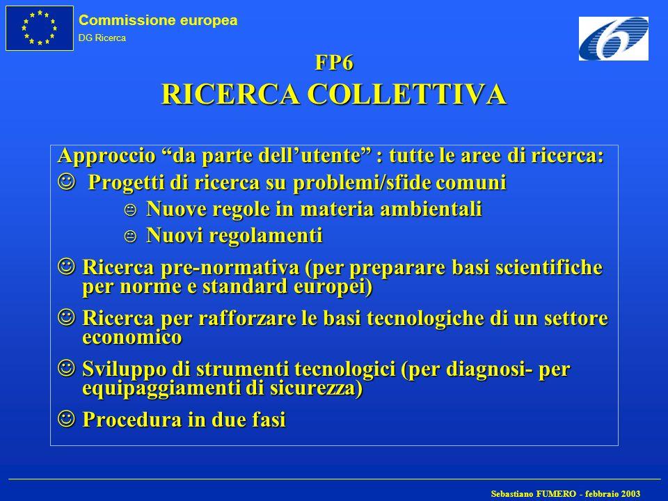 FP6 RICERCA COLLETTIVA Approccio da parte dell'utente : tutte le aree di ricerca: Progetti di ricerca su problemi/sfide comuni.