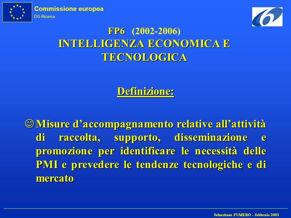 FP6 (2002-2006) INTELLIGENZA ECONOMICA E TECNOLOGICA