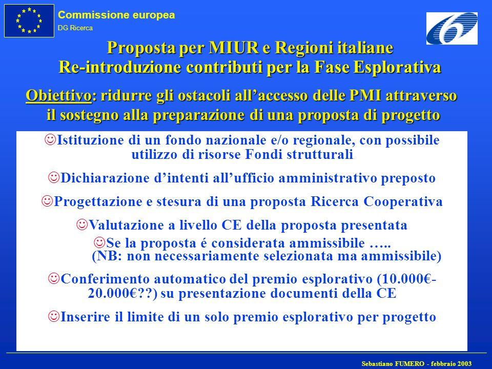 Proposta per MIUR e Regioni italiane Re-introduzione contributi per la Fase Esplorativa