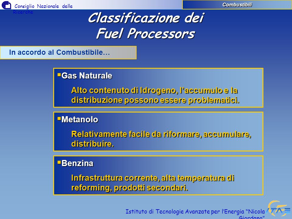 Classificazione dei Fuel Processors