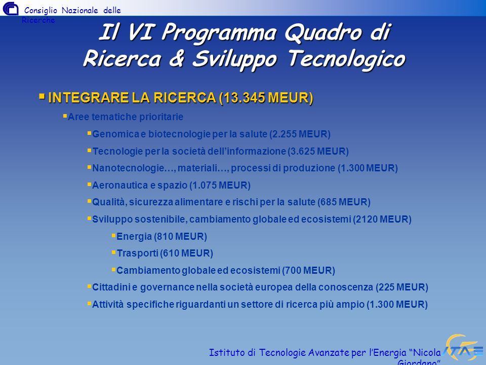 Il VI Programma Quadro di Ricerca & Sviluppo Tecnologico