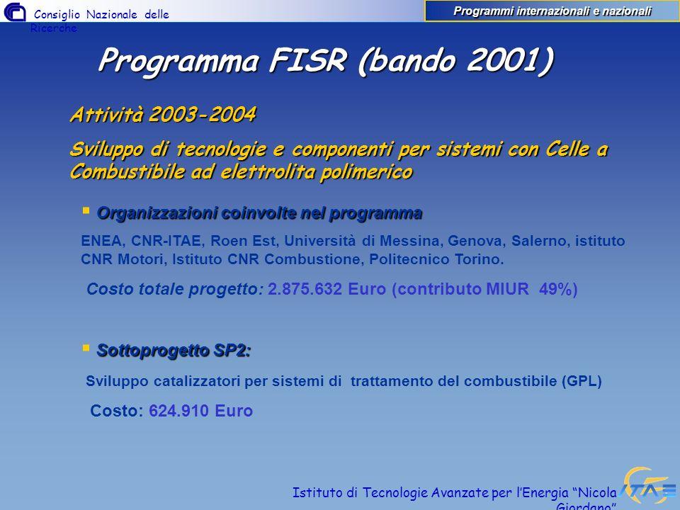 Programmi internazionali e nazionali Programma FISR (bando 2001)