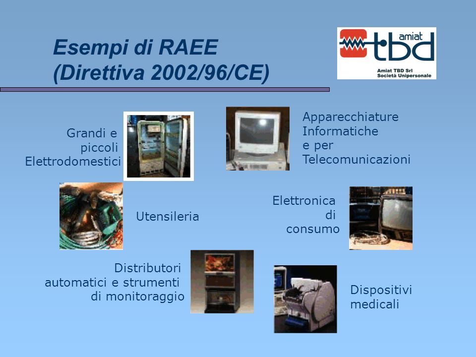 Esempi di RAEE (Direttiva 2002/96/CE)