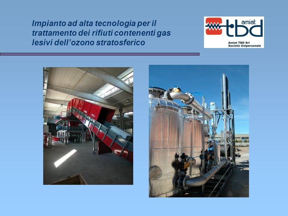 Impianto ad alta tecnologia per il trattamento dei rifiuti contenenti gas lesivi dell'ozono stratosferico