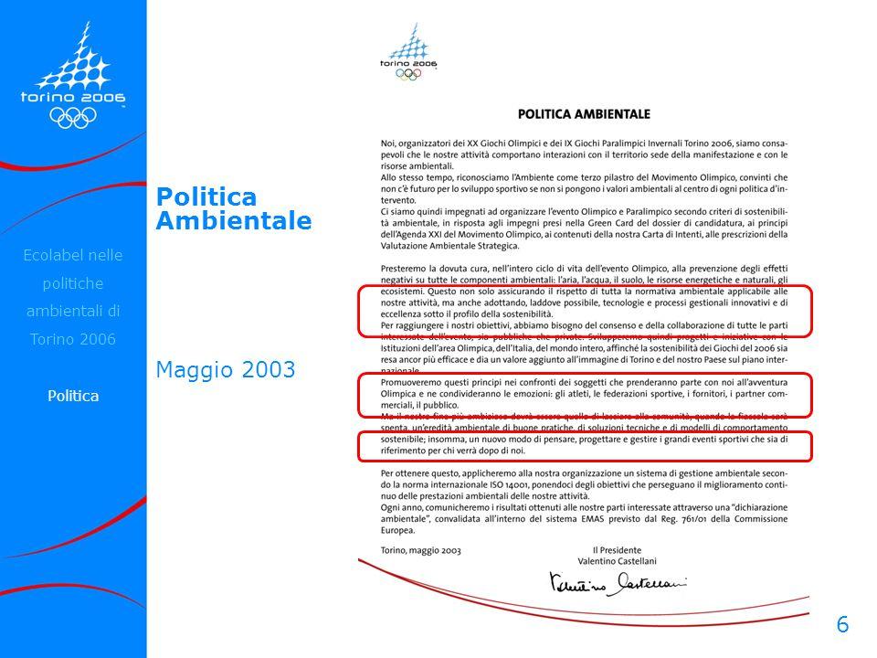 Ecolabel nelle politiche ambientali di Torino 2006