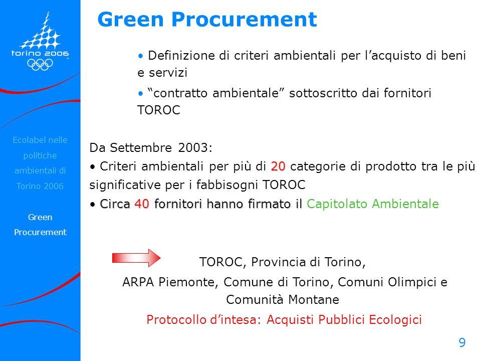 Green Procurement Definizione di criteri ambientali per l'acquisto di beni e servizi. contratto ambientale sottoscritto dai fornitori TOROC.