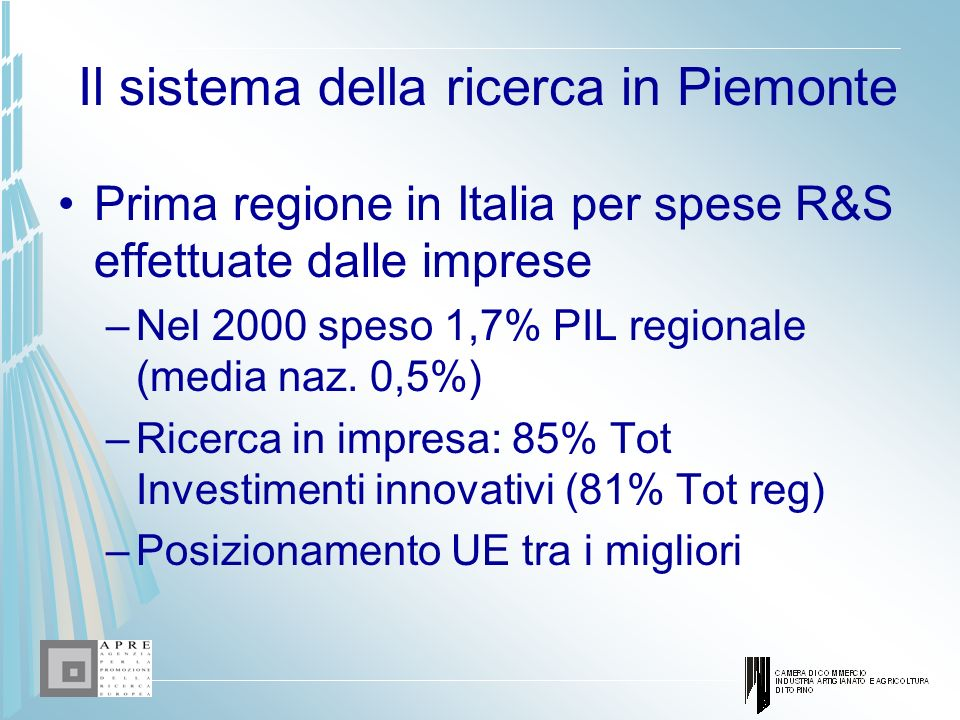 Il sistema della ricerca in Piemonte
