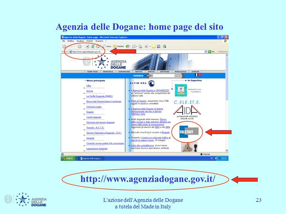 Agenzia delle Dogane: home page del sito