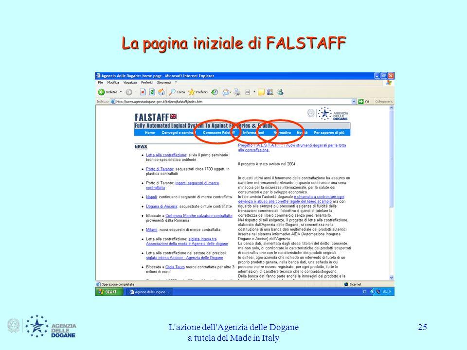 La pagina iniziale di FALSTAFF
