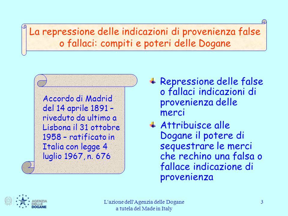 L azione dell Agenzia delle Dogane a tutela del Made in Italy