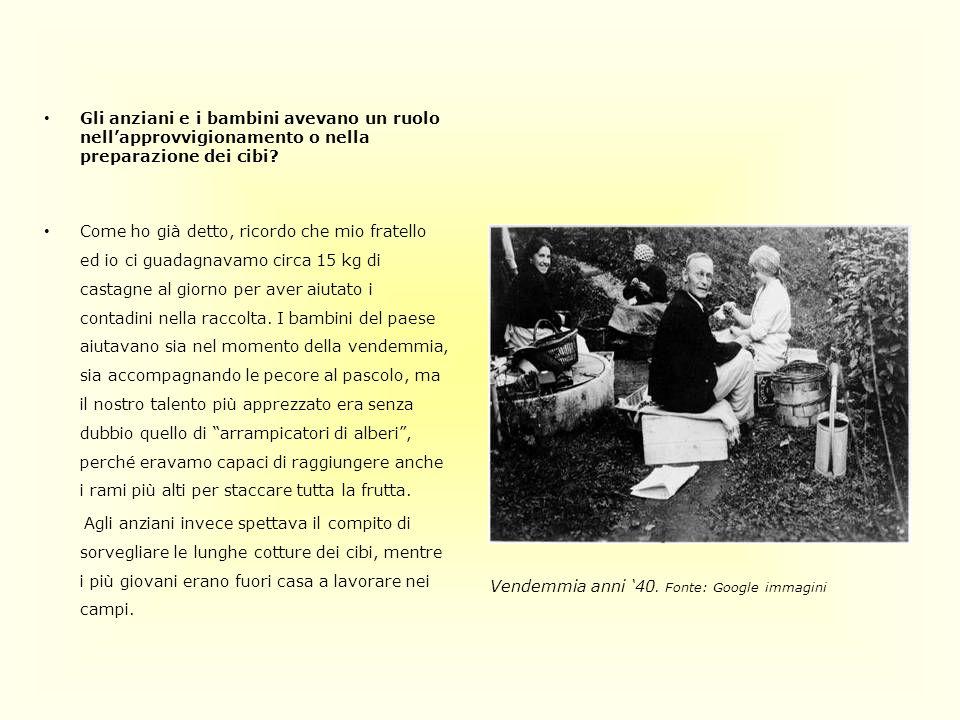 Gli anziani e i bambini avevano un ruolo nell'approvvigionamento o nella preparazione dei cibi