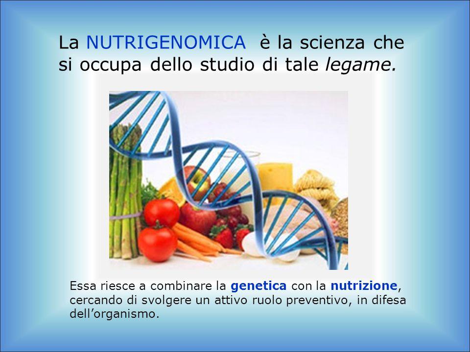 La NUTRIGENOMICA è la scienza che si occupa dello studio di tale legame.