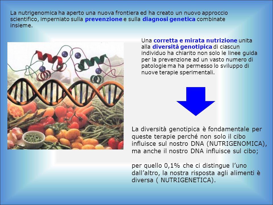 La nutrigenomica ha aperto una nuova frontiera ed ha creato un nuovo approccio scientifico, imperniato sulla prevenzione e sulla diagnosi genetica combinate insieme.