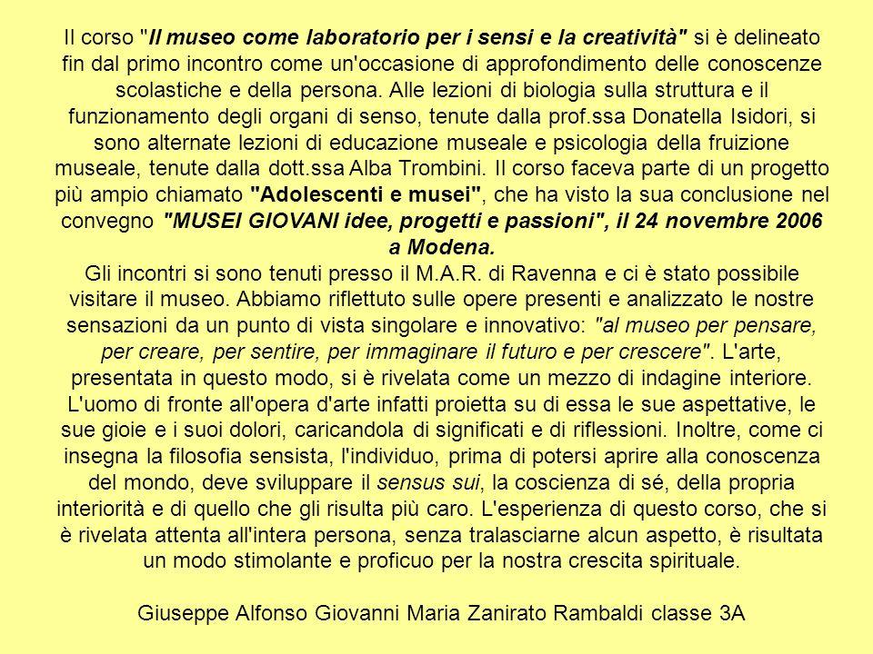 Giuseppe Alfonso Giovanni Maria Zanirato Rambaldi classe 3A