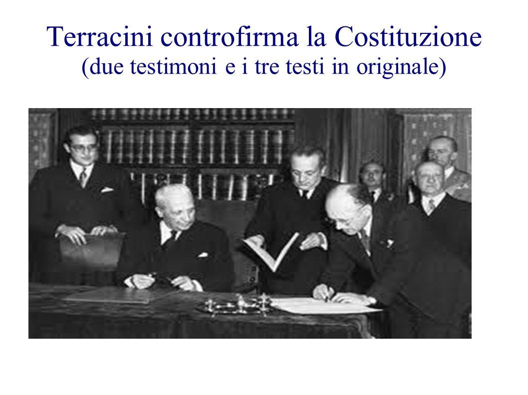 Terracini controfirma la Costituzione (due testimoni e i tre testi in originale)