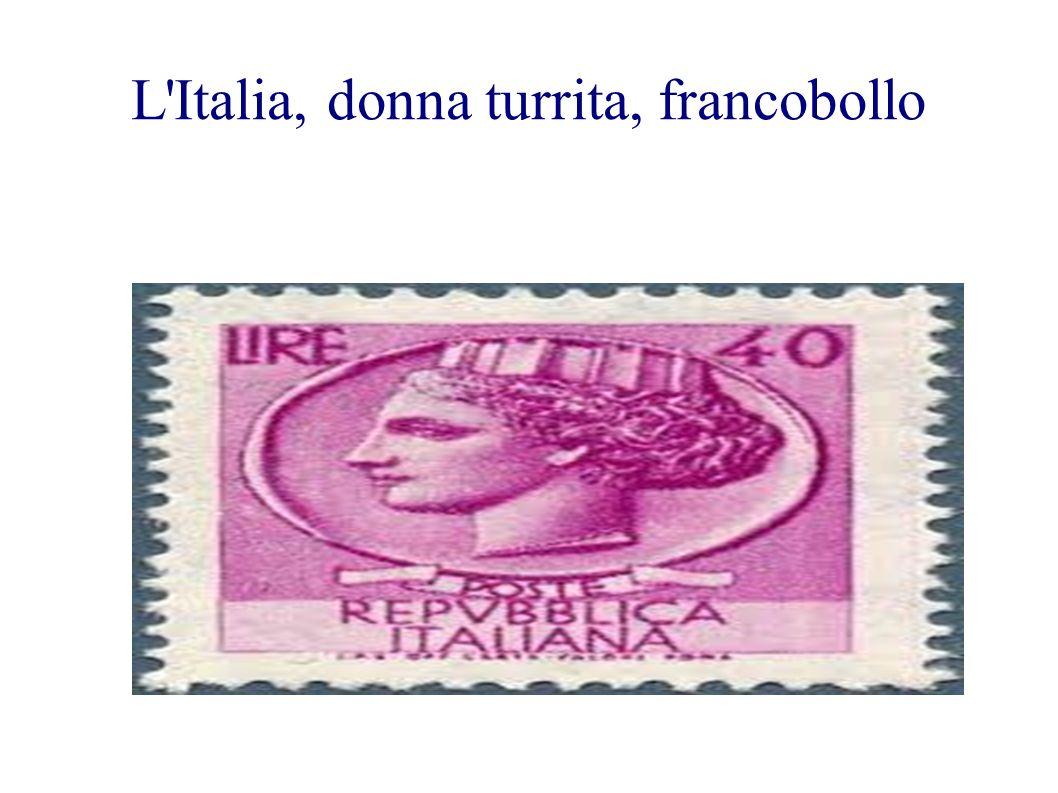 L Italia, donna turrita, francobollo
