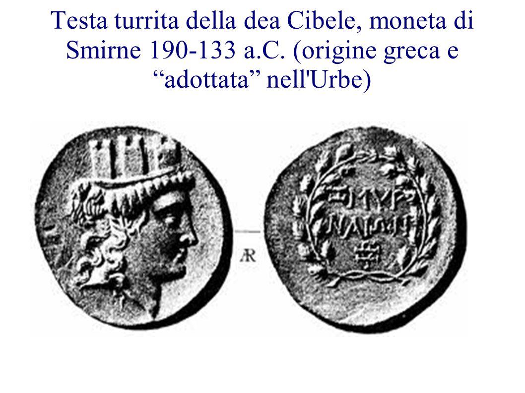 Testa turrita della dea Cibele, moneta di Smirne 190-133 a. C