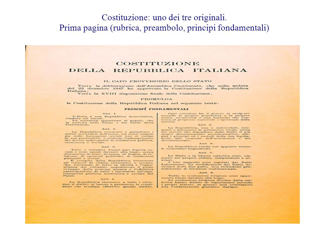 Costituzione: uno dei tre originali