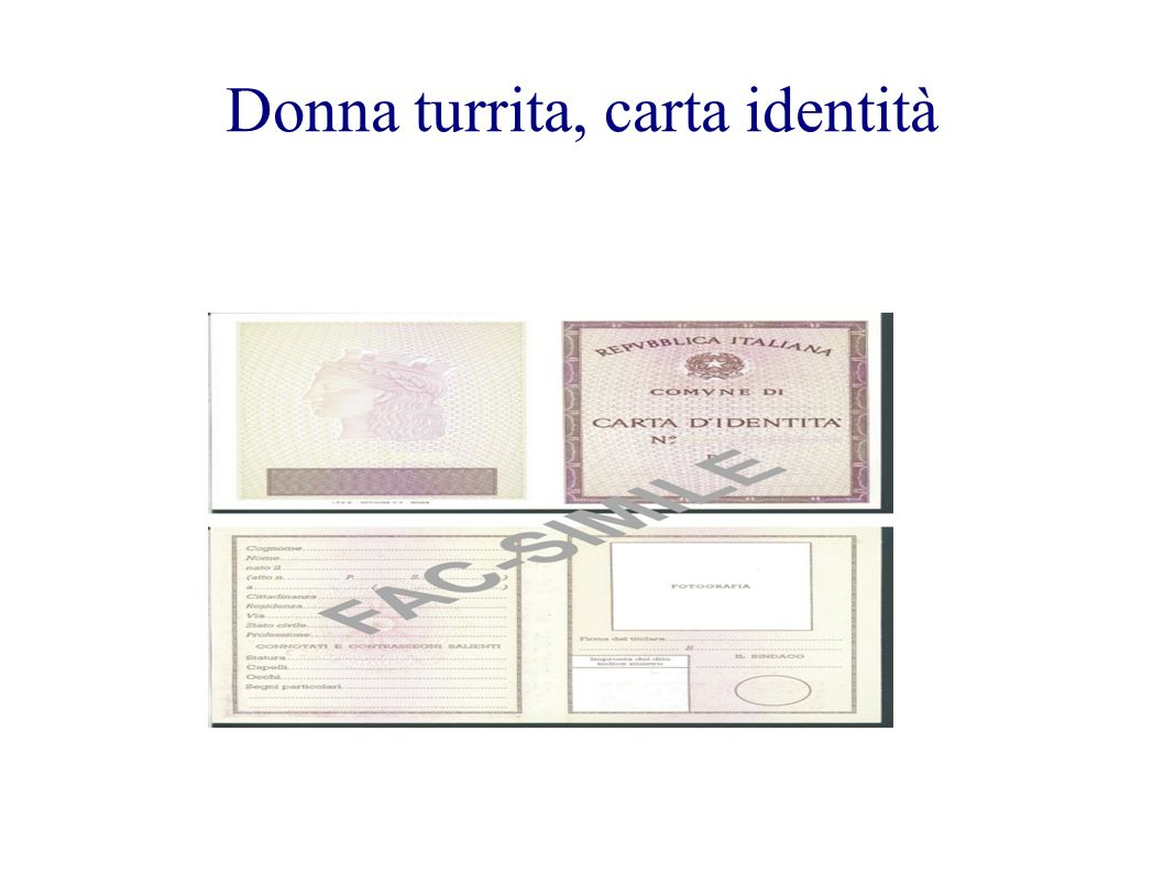 Donna turrita, carta identità