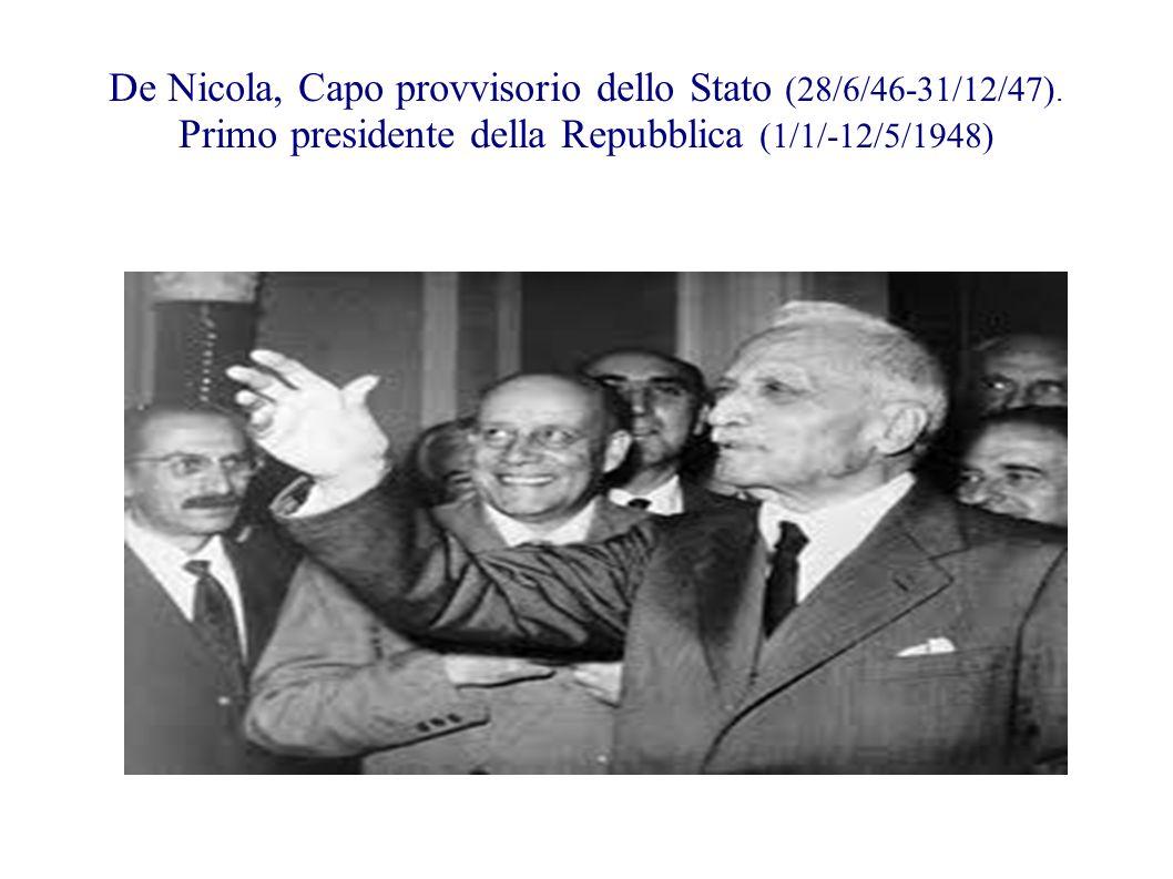 De Nicola, Capo provvisorio dello Stato (28/6/46-31/12/47)