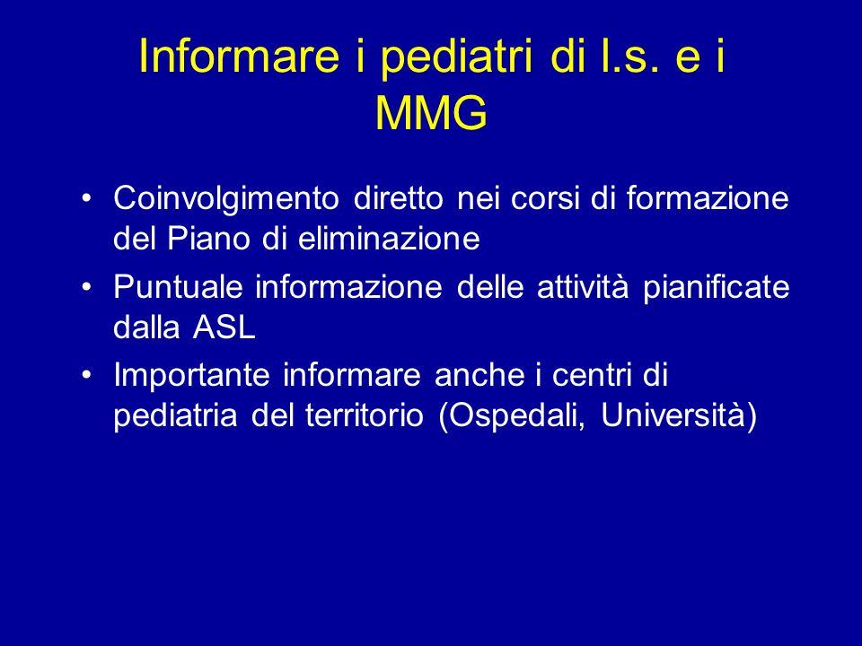 Informare i pediatri di l.s. e i MMG