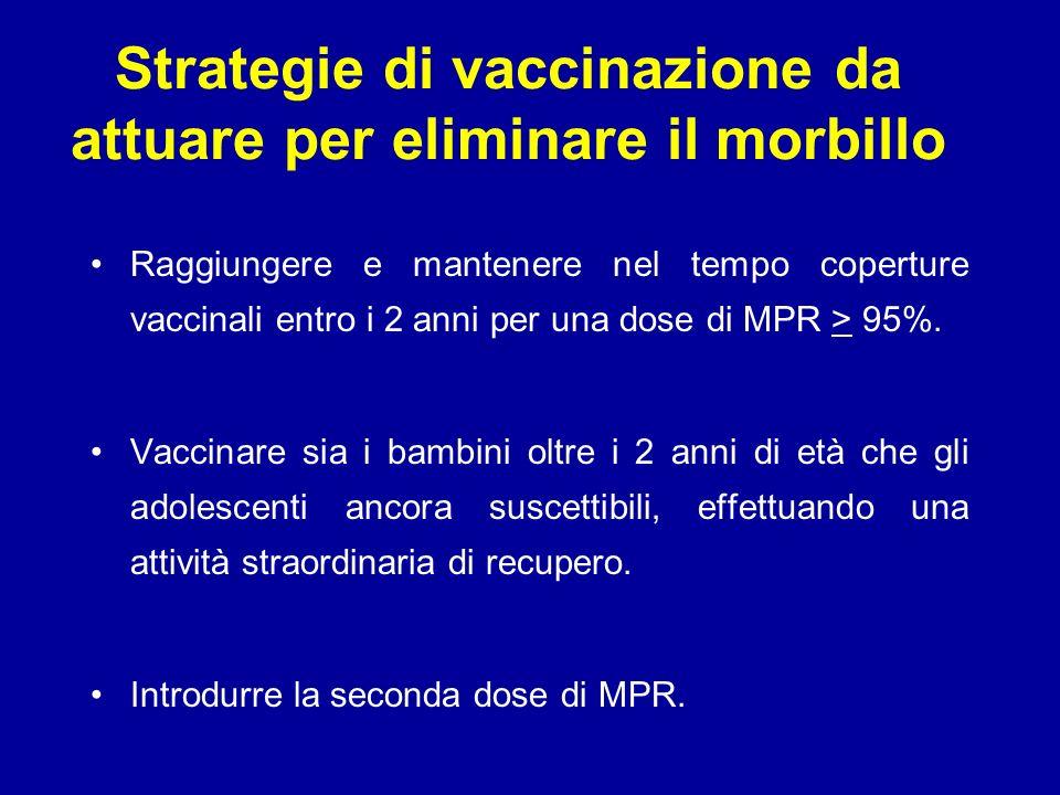 Strategie di vaccinazione da attuare per eliminare il morbillo