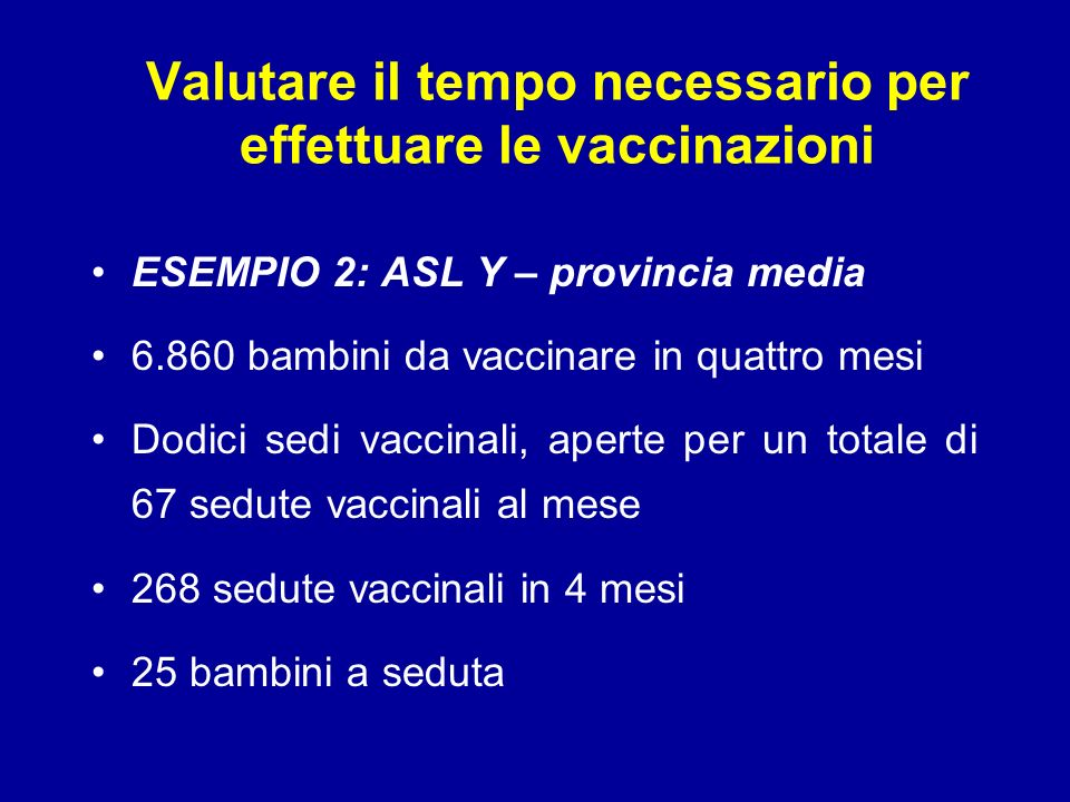 Valutare il tempo necessario per effettuare le vaccinazioni