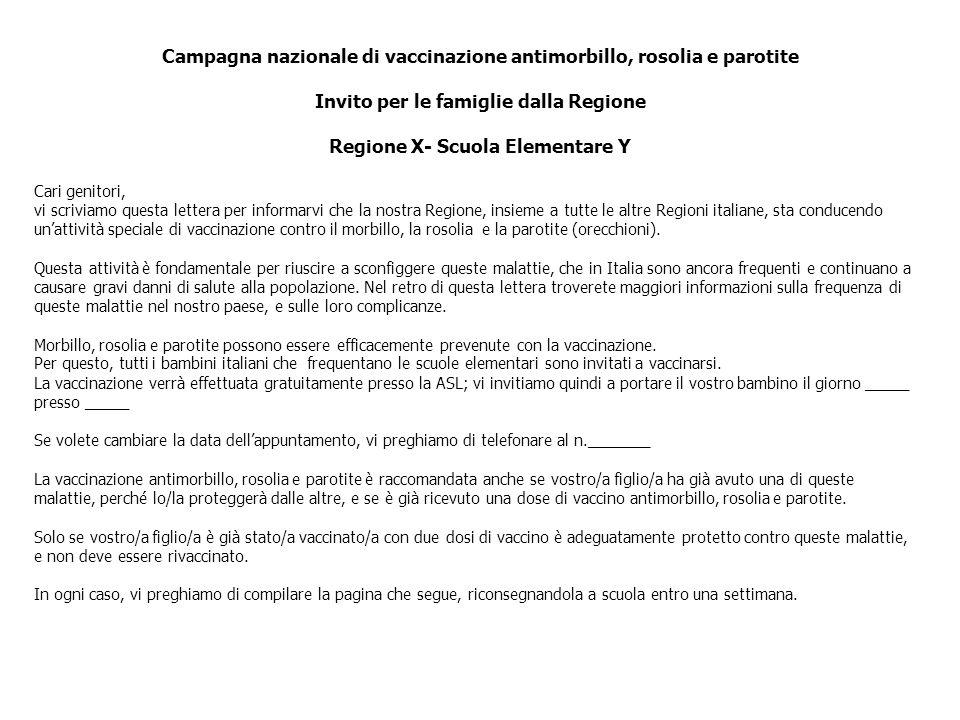 Campagna nazionale di vaccinazione antimorbillo, rosolia e parotite