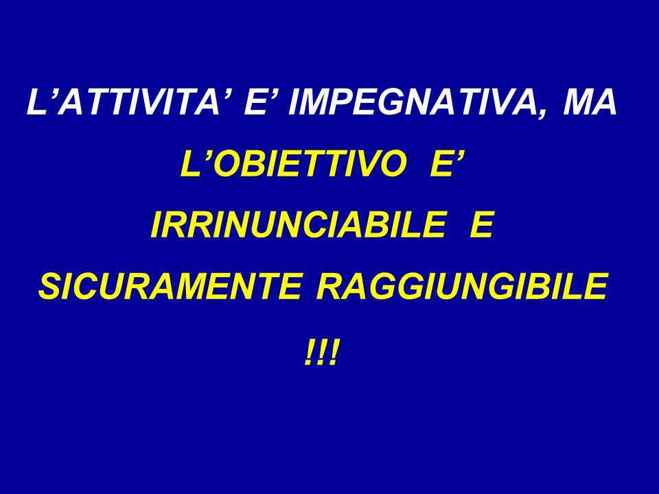L'ATTIVITA' E' IMPEGNATIVA, MA L'OBIETTIVO E' IRRINUNCIABILE E SICURAMENTE RAGGIUNGIBILE !!!