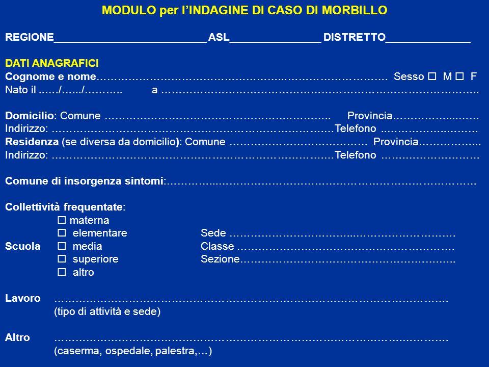 MODULO per l'INDAGINE DI CASO DI MORBILLO