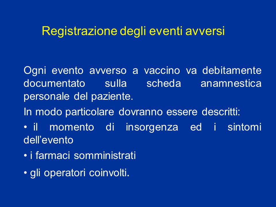 Registrazione degli eventi avversi