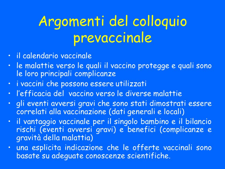 Argomenti del colloquio prevaccinale