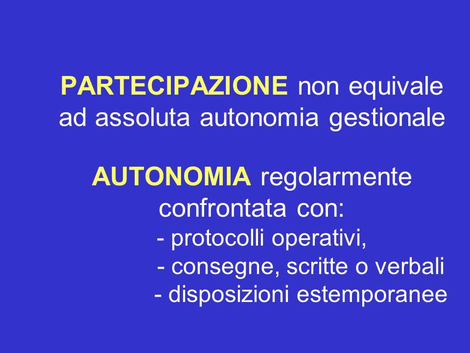 PARTECIPAZIONE non equivale ad assoluta autonomia gestionale AUTONOMIA regolarmente confrontata con: - protocolli operativi, - consegne, scritte o verbali - disposizioni estemporanee