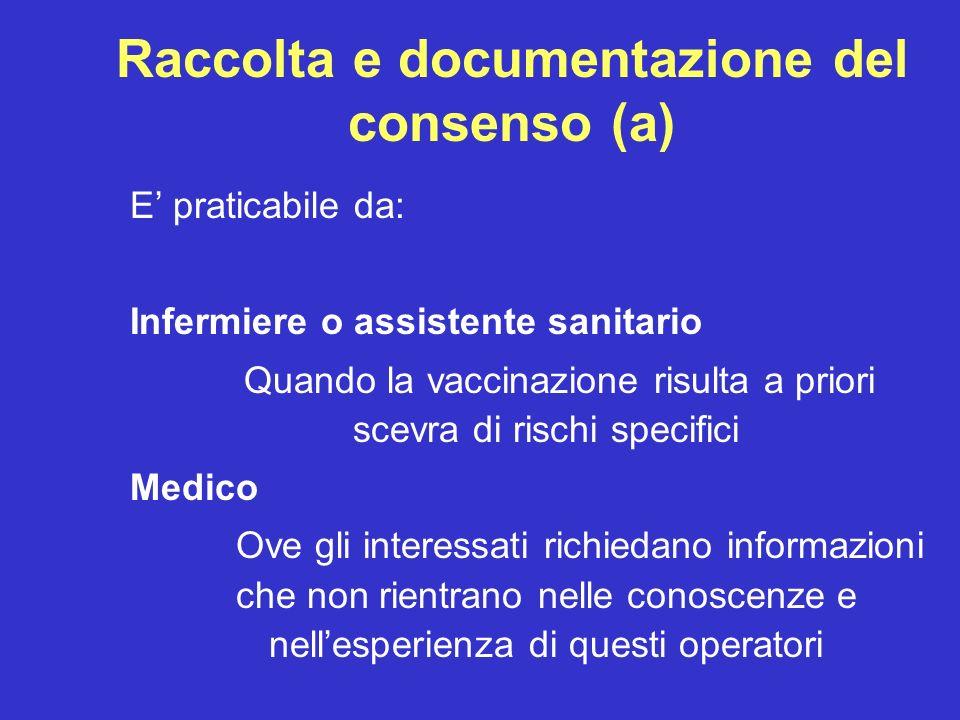 Raccolta e documentazione del consenso (a)