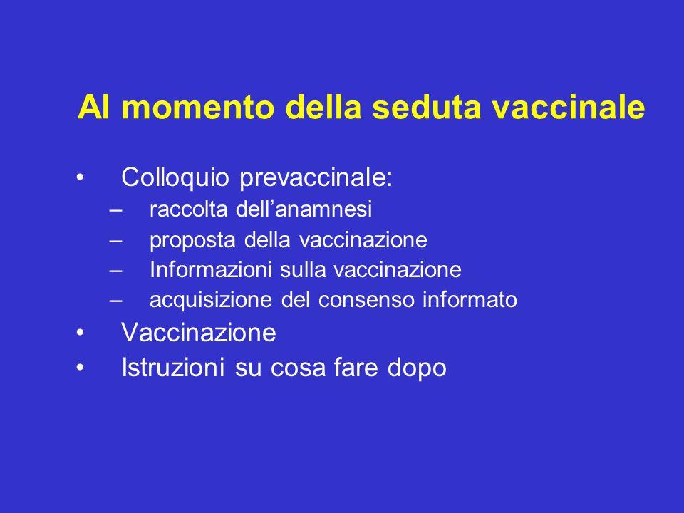 Al momento della seduta vaccinale