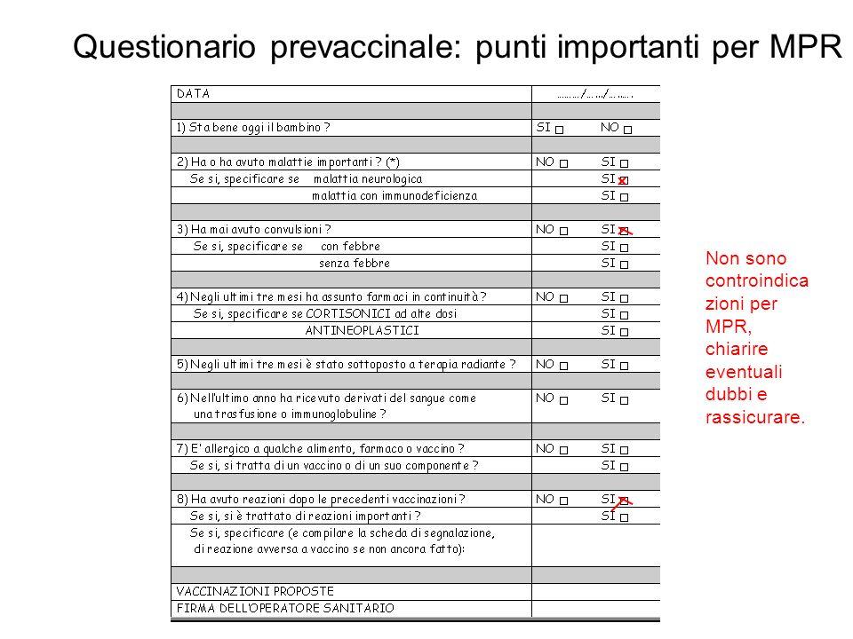 Questionario prevaccinale: punti importanti per MPR